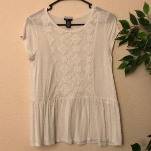White Peplum Top w/ Lace and Mesh Details